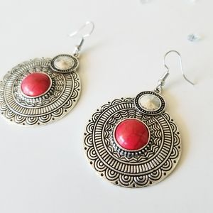 Statement Earrings Vintage Crimson Red Tribal